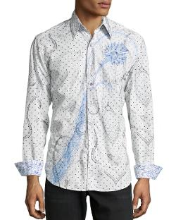 Long-Sleeve Print Poplin Shirt by Robert Graham in Hot Tub Time Machine 2