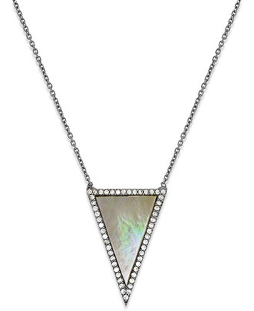 Crystal Triangle Pendant Necklace In Sterling Silver by Studio Silver in The Vampire Diaries - Season 7 Episode 1