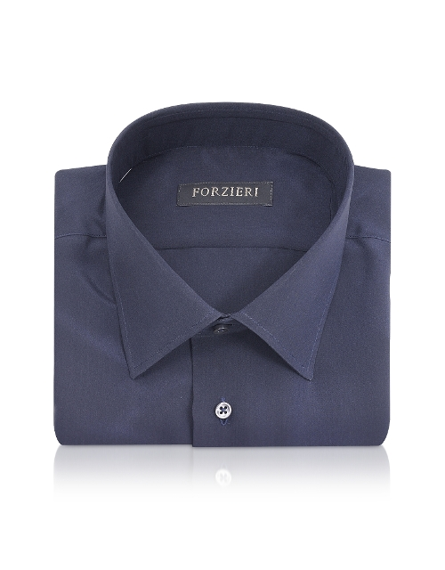 Blue Pure Silk Dress Shirt by Forzieri in Man of Tai Chi