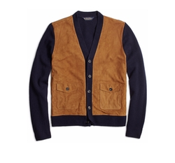 Suede and Lambswool Cardigan by Brooks Brothers in Power Rangers