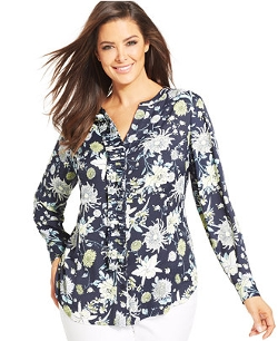 Plus Size Floral-Print Pleated Blouse by Jones New York Collection in Love & Mercy