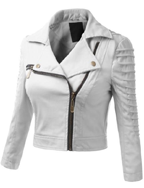 Women's Faux Leather Power Shoulder Jacket by Doublju in Blended