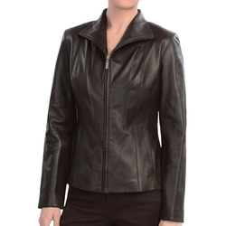 Lambskin Leather Jacket by Cole Haan in Rosewood