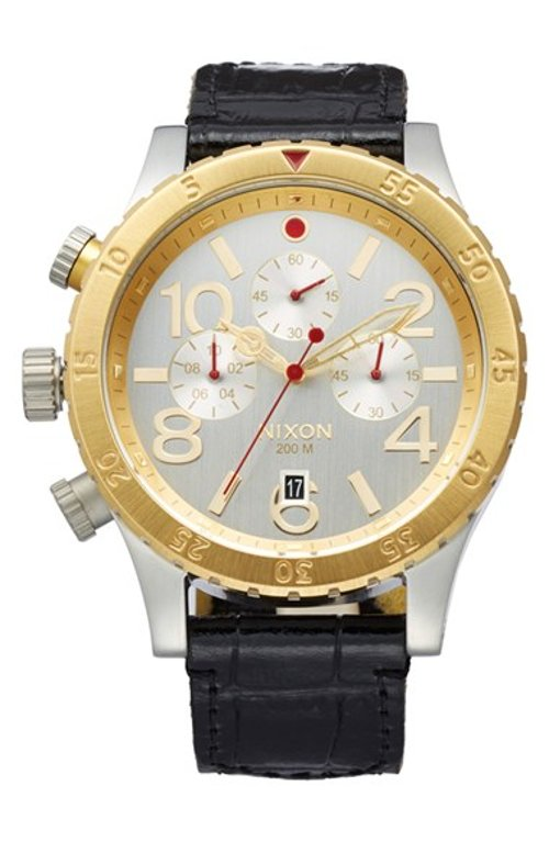 Chronograph Leather Strap Watch by Nixon in The Gambler
