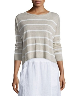Long-Sleeve Striped Box Crop Top by Eileen Fisher in Supergirl