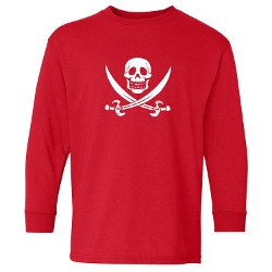 Skull & Crossbones Kids Long Sleeve T-Shirt by Pirates & Anchors in Paddington