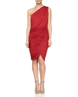 One-Shoulder Ruched Dress by Halston Heritage in Whiskey Tango Foxtrot