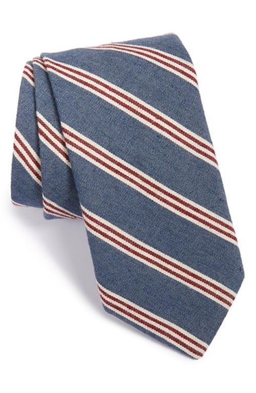 Stripe Woven Cotton Tie by Todd Snyder White Label in Black Mass