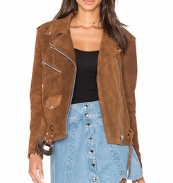 X Revolve Western Suede Moto Jacket by Understated Leather in Fuller House
