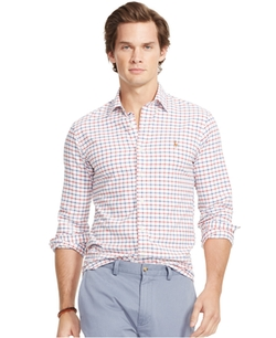 Men's Men's Long Sleeve Multi-Gingham Oxford Shirt by Polo Ralph Lauren  in Silicon Valley