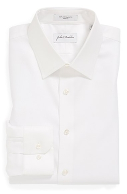 Trim Fit Non-Iron Solid Dress Shirt by John W. Nordstrom in Black Mass