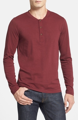 Shooter Slim Fit Long Sleeve Henley Shirt by French Connection in The Flash