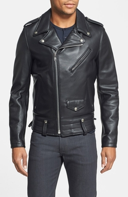 'Chips' Moto Leather Jacket by Schott NYC in Survivor