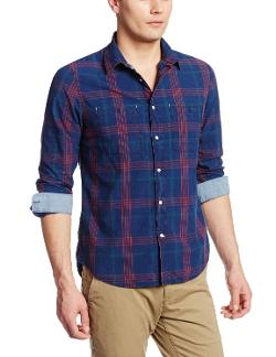 Men's Indigo Check Shirt by Woolrich John Rich & Bros. in Savages