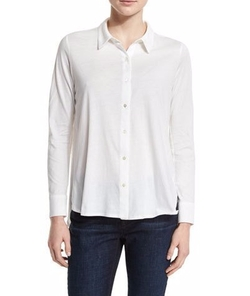 High-Low Button-Front Shirt by Eileen Fisher in Supergirl