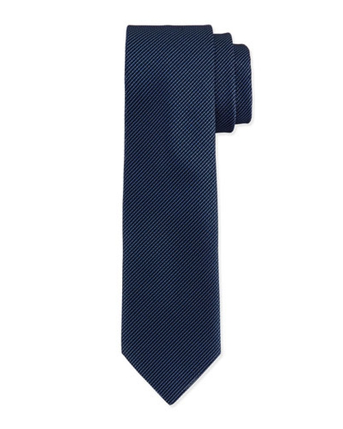 Textured Hairline-Stripe Silk Tie by Charvet in Legend