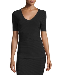 Short-Sleeve Ribbed Banded Top by T by Alexander Wang in Arrow