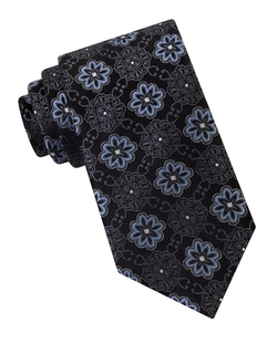 Exploded Flower Medallion Silk Tie by Ike By Ike Behar in The Blacklist