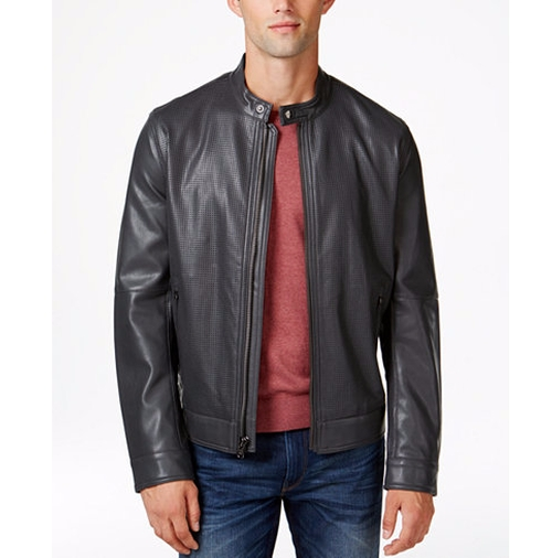 Snap-Collar Faux Leather Bomber Jacket by MICHAEL Michael Kors in Daddy's Home