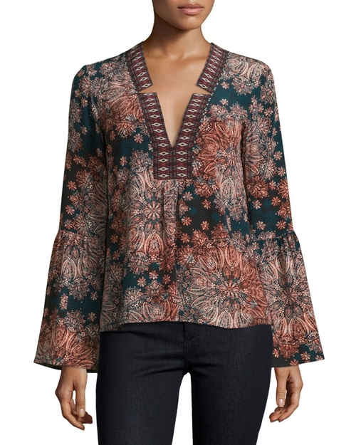 Paisley Silk Bell-Sleeve Top by Nanette Lepore  in How To Get Away With Murder - Season 3 Episode 5