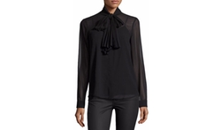 Pleated Tie-Neck Blouse by Michael Michael Kors in Miss Sloane