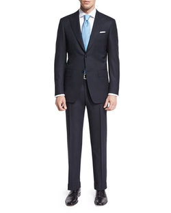 Sienna Contemporary-Fit Textured Solid Suit by Canali	 in The Big Short