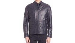 Zipper Leather Jacket by Saks Fifth Avenue Collection in Rosewood
