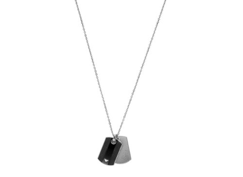 Men's Double Dog Tag Pendant Necklace by Emporio Armani in Vice