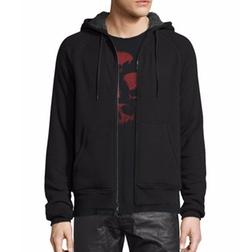 Fleece-Lined Front-Zip Hoodie by John Varvatos Star USA in Power