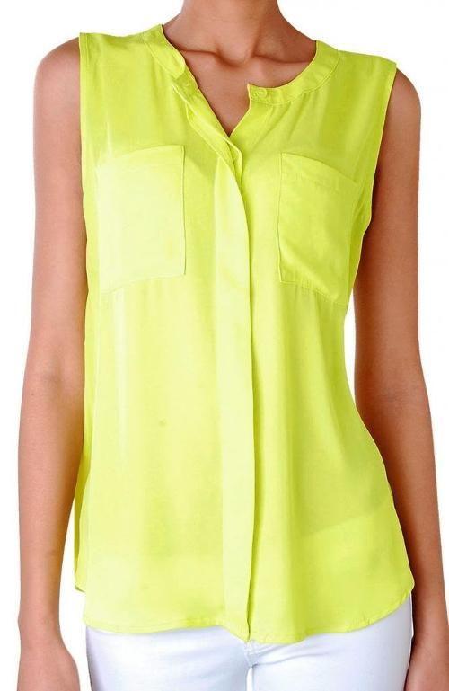 Sorbet Sleeveless Blouse - Chiffon Pocket Top by Humble Chic NY in Ride Along