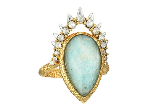 Crystal Studded Spur Framed Amazonite Ring by Alexis Bittar in Scream Queens - Season 1 Episode 1