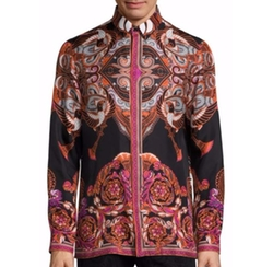 Bold Ethnic Graphic Silk Shirt by Versace Collection in Empire