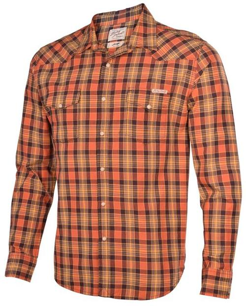 Men's Snap Button Front Plaid Long Sleeve Shirt-Orange by Lucky Brand in The Other Woman