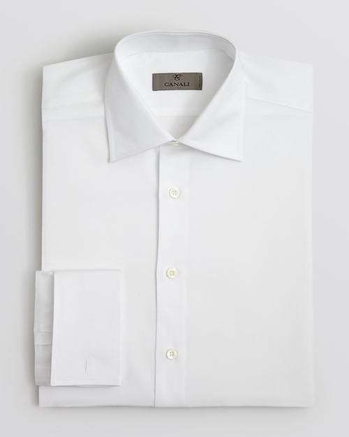Harvey Specter 39 S White Canali Solid French Cuff Dress