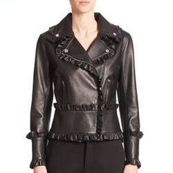 Leather Frill Moto Jacket by Christopher Kane in Empire