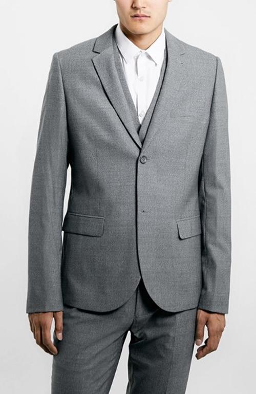 Grey Skinny Fit Suit Jacket by Topman in John Wick