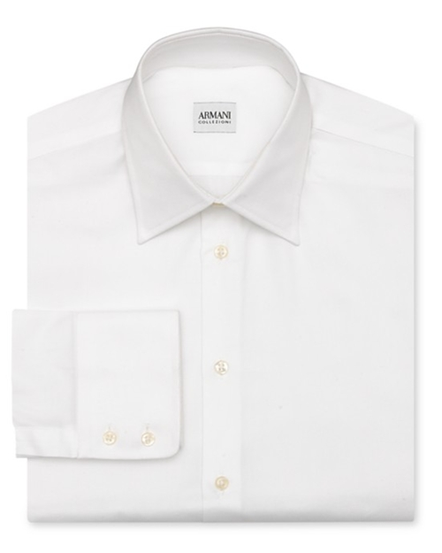 Solid Oxford Dress Shirt by Armani Collezioni in Suits