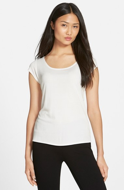 Cap Sleeve Silk Tee Shirt by Eileen Fisher in Fifty Shades of Black