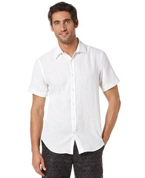Short Sleeve Solid Linen Shirt by Perry Ellis in Neighbors