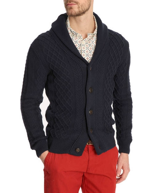 Cable Knit Navy Blue Cardigan by Knowledge Cotton Apparel in Ricki and the Flash