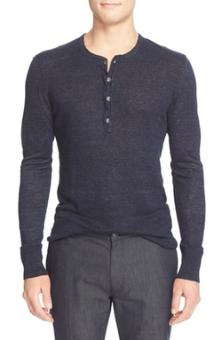 Linen Délavé Henley Sweater by John Varvatos Collection in The Flash