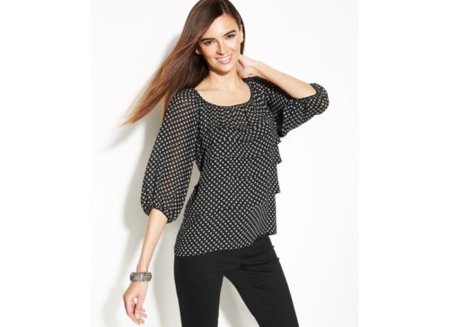 Bishop-Sleeve Polka-Dot Blouse by Studio M in The Place Beyond The Pines