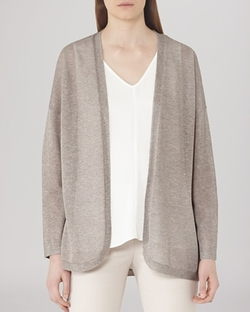 Coral Shimmer Open Cardigan by Reiss in Everest