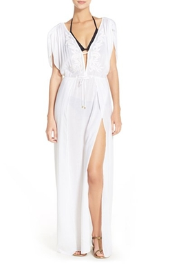 Embroidered Cover-Up Caftan by ViX Swimwear in Criminal