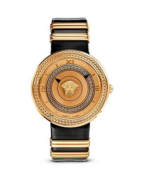 Ion-Plated Rose Gold Watch with Black Leather Band by Versace V-Metal Icon in Focus