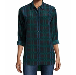Daddy Long-Sleeve Plaid Blouse by Equipment in Pretty Little Liars