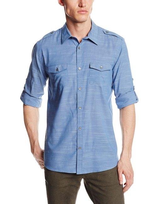 Sportswear Men's Slub Voile Roll-Sleeve Woven Shirt by Calvin Klein in Vice