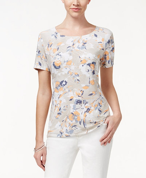 Floral Print Textured Tee by JM Collection in Lady Dynamite -  Preview
