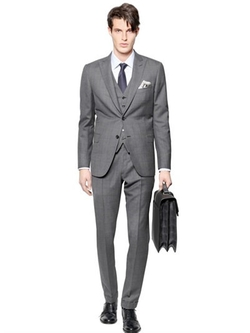 Bracciano Wool/Silk 3 Pieces Check Suit by Brioni in Ballers