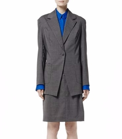 Stripe Wool Stripe Blazer by Ji Oh in Friends From College
